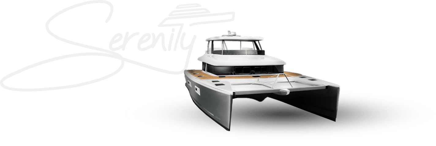 Serenity logo with catamaran picture