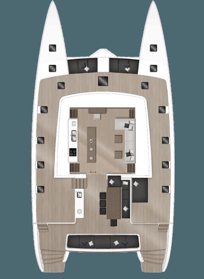 Plan du catamaran aires de détentes et cuisine   Bateau de Marc Saulnier   Serenity
