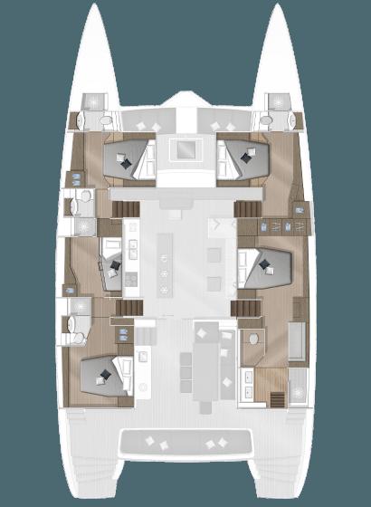 Plan du catamaran aires des chambres   Bateau de Marc Saulnier   Serenity